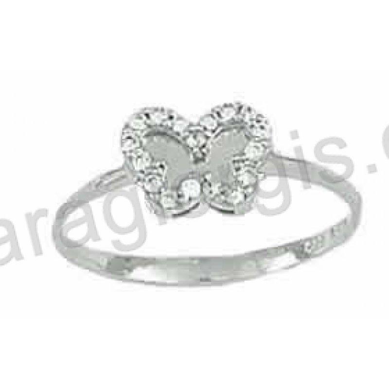 Δαχτυλίδι λευκόχρυσο Κ14 μοντέρνο σε πεταλούδα με άσπρες πέτρες ζιργκόν και λευκόχρυσο  καθρέπτη στη μέση. a86fbc88be3