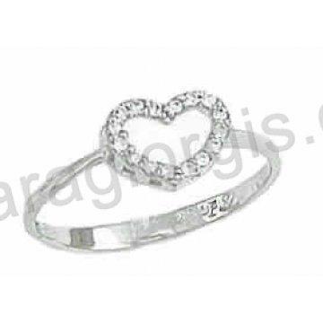 Δαχτυλίδι λευκόχρυσο Κ14 μοντέρνο σε καρδιά με άσπρες πέτρες ζιργκόν. d7fad4bdf96
