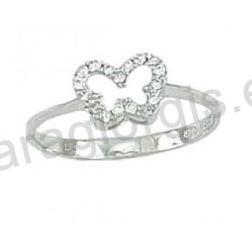 Δαχτυλίδι λευκόχρυσο Κ14 μοντέρνο σε πεταλούδα με άσπρες πέτρες ζιργκόν. c86b3dac7ab
