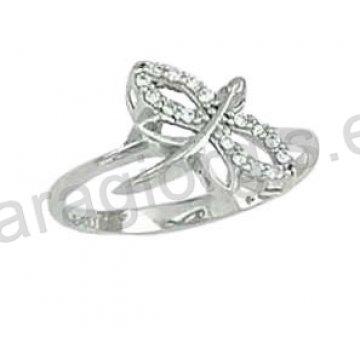 Δαχτυλίδι λευκόχρυσο Κ14 μοντέρνο σε λιβελούλα με άσπρες πέτρες ζιργκόν. d0323b57860