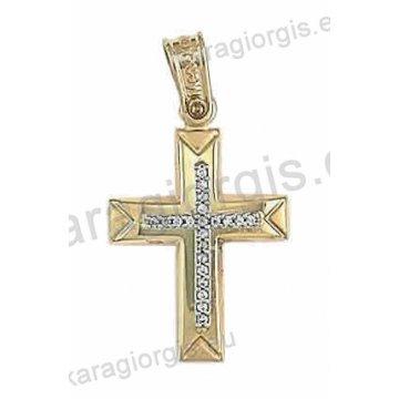 Βαπτιστικός σταυρός για κορίτσι δίχρωμος λευκόχρυσο με χρυσό σε ματ με λουστρέ φινίρισμα και άσπρες πέτρες ζιργκόν.