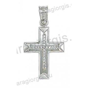 Βαπτιστικός σταυρός για κορίτσι σε λευκόχρυσο με ματ και λουστρέ φινίρισμα και άσπρες πέτρες ζιργκόν.