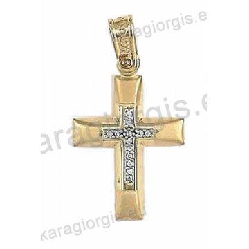Βαπτιστικός σταυρός για κορίτσι δίχρωμος λευκόχρυσο με χρυσό σε ματ φινίρισμα και άσπρες πέτρες ζιργκόν.