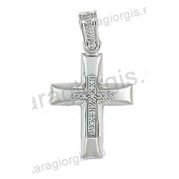 Βαπτιστικός σταυρός για κορίτσι σε λευκόχρυσο με ματ φινίρισμα και άσπρες πέτρες ζιργκόν.