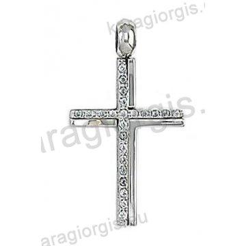 Λευκόχρυσος σταυρός για γυναίκα σε λουστρέ φινίρισμα με άσπρες πέτρες ζιργκόν.