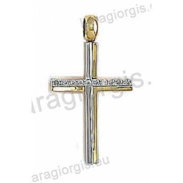 Δίχρωμος σταυρός για γυναίκα χρυσό με λεκόχρυσο σε λουστρέ φινίρισμα με άσπρες πέτρες ζιργκόν.