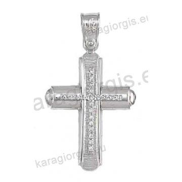 Βαπτιστικός σταυρός για κορίτσι σε λευκόχρυσο με σαγρέ-λουστρέ φινίρισμα ένθετο σταυρό και άσπρες πέτρες ζιργκόν.