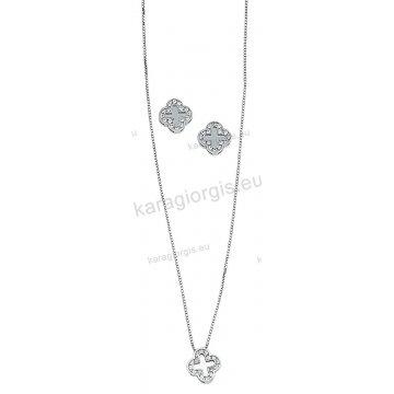 Σετ Κ14 λευκόχρυσο αρραβώνα-γάμου με κολιέ, σκουλαρίκια σε σχήμα σταυρού με άσπρες πέτρες ζιργκόν.