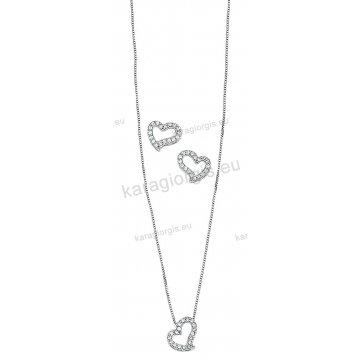 Σετ Κ14 λευκόχρυσο αρραβώνα-γάμου με κολιέ, σκουλαρίκια σε σχήμα καρδιάς με άσπρες πέτρες ζιργκόν.