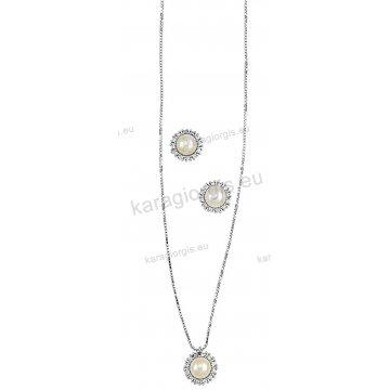 Σετ Κ14 λευκόχρυσο αρραβώνα-γάμου με κολιέ, σκουλαρίκια σε ροζέτα με άσπρες πέρλες και άσπρες πέτρες ζιργκόν.