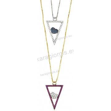 Κολιέ χρυσό ή λευκόχρυσο Κ14 σε κρεμαστό τρίγωνο με ένθετη καρδιά με άσπρες ή κόκκινες πέτρες ζιργκόν.