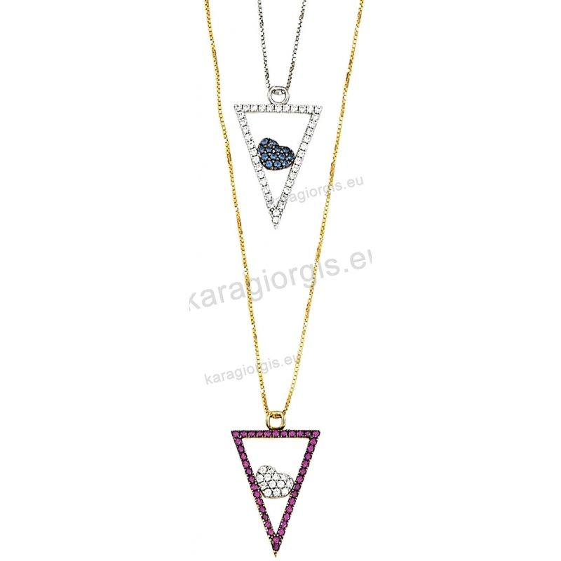 Κολιέ χρυσό ή λευκόχρυσο Κ14 σε κρεμαστό τρίγωνο με ένθετη καρδιά με άσπρες  ή κόκκινες πέτρες 9f776780f0b
