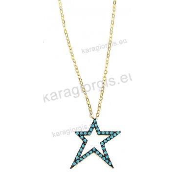 Κολιέ χρυσό Κ14 σε κρεμαστό αστέρι με τιρκουάζ πέτρες σε μαύρο χρυσό.