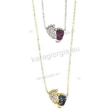 Κολιέ χρυσό ή λευκόχρυσο Κ14 με κρεμαστές πατουσίτσες σε πολύχρωμες πέτρες ζιργκόν.