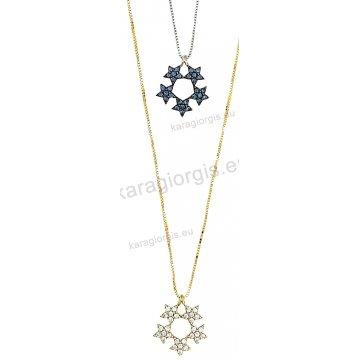 Κολιέ χρυσό ή λευκόχρυσο Κ14 σε κρεμαστή νιφάδα χιονιού με μαύρες ή άσπρες πέτρες ζιργκόν σε μαύρο χρυσό.