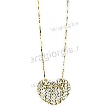 Κολιέ χρυσό Κ14 σε κρεμαστή καρδιά με άσπρες πέτρες ζιργκόν.