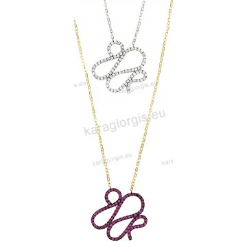 Κολιέ χρυσό ή λευκόχρυσο Κ14 σε ελικοειδές σχέδιο με άσπρες ή κόκκινες πέτρες ζιργκόν.