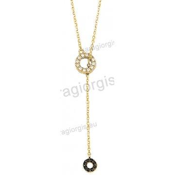 Κολιέ χρυσό Κ14 σε γραβάτα με άσπρες πέτρες ζιργκόν και μαύρες πέτρες στο τελείωμα με μαύρο χρυσό.