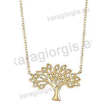 Κολιέ χρυσό Κ14 με το δέντρο της ζωής με άσπρες πέτρες ζιργκόν.