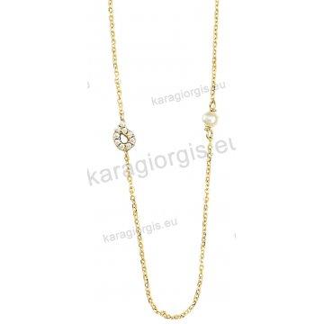 Κολιέ χρυσό Κ14 σε περιμετρικό σχήμα με ένθετη πέρλα και άσπρες πέτρες ζιργκόν.