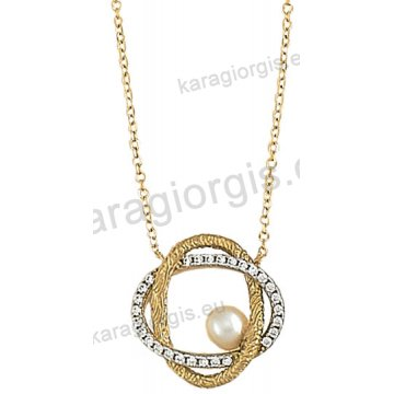 Κολιέ χρυσό Κ14 σε ελικοειδές σχήμα με άσπρες πέτρες ζιργκόν και πέρλα σε ματ φινίρισμα.