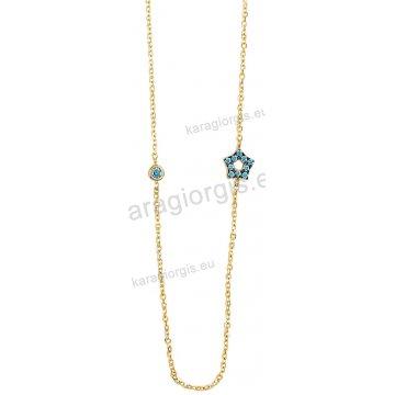 Κολιέ χρυσό Κ14 σε περιμετρικό σχήμα με ένθετο αστεράκι και μονόπετρο με τιρκουάζ πέτρες.