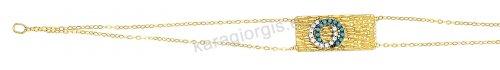 Βραχιόλι χρυσό Κ14 σε ταυτότητα με άσπρες και τιρκουάζ πέτρες και διπλή καδένα με σφυρήλατο φινίρισμα.