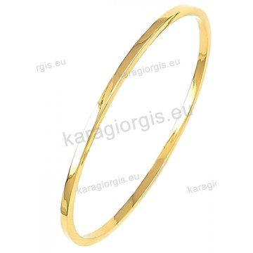 Βραχιόλι χρυσό Κ14 σε βέργα με λουστρέ φινίρισμα.