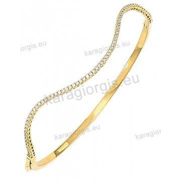Βραχιόλι χρυσό Κ14 σε βέργα έκκεντρο με άσπρες πέτρες ζιργκόν.