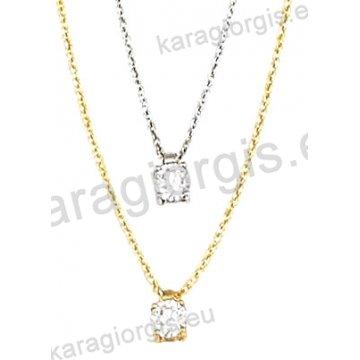 Κολιέ χρυσό ή λευκόχρυσο Κ14 με μονόπετρο ζιργκόν.