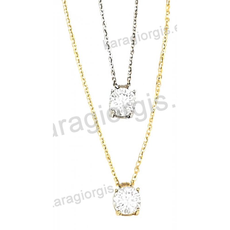 K538 Κολιέ χρυσό ή λευκόχρυσο Κ14 με μονόπετρο ζιργκόν. Ένα ... 2edf2620529