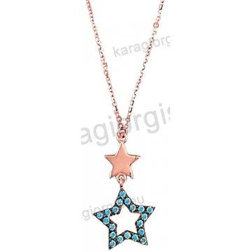 Κολιέ rose gold σε ροζ χρυσό Κ14 με κρεμαστό αστέρι και σιέλ πέτρες ζιργκόν.