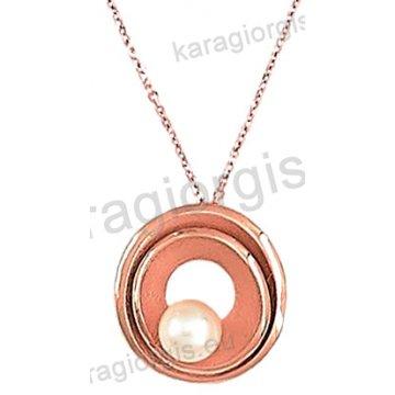 Κολιέ rose gold σε ροζ χρυσό Κ14 με κρεμαστή πέρλα σε μοτίφ.