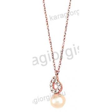 Κολιέ rose gold σε ροζ χρυσό Κ14 με κρεμαστή πέρλα και άσπρες πέτρες ζιργκόν.