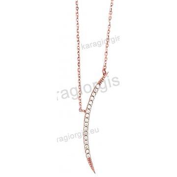 Κολιέ rose gold σε ροζ χρυσό Κ14 με κρεμαστή γραβάτα με άσπρες πέτρες ζιργκόν.