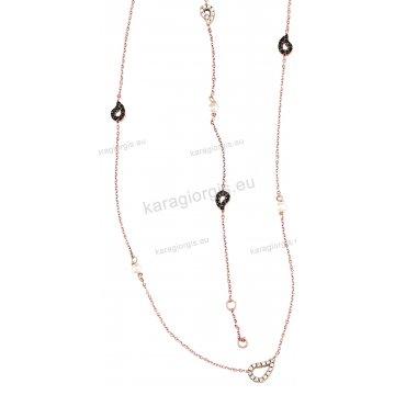 Σετ Κ14 rose gold σε ροζ χρυσό αρραβώνα-γάμου με κολιέ, βραχιόλι με περιμετρικά στοιχεία σε άσπρες και μαύρες πέτρες ζιργκόν.