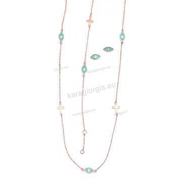 Σετ Κ14 rose gold σε ροζ χρυσό αρραβώνα-γάμου με κολιέ, βραχιόλι, σκουλαρίκι με περιμετρικά σταυρουδάκια και ματάκια.