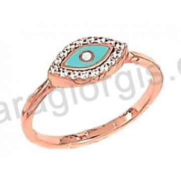 Δαχτυλίδι rose gold σε ροζ χρυσό Κ14 με σιέλ ματάκι φίλντισι και άσπρες πέτρες ζιργκόν.