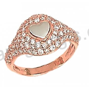Δαχτυλίδι rose gold σε ροζ χρυσό Κ14 με καρδιά λευκόχρυση και άσπρες πέτρες ζιργκόν.