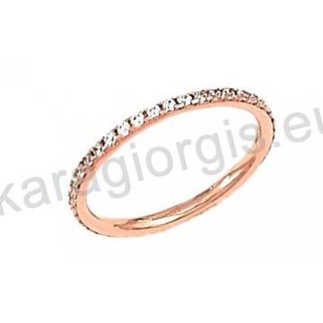 Δαχτυλίδι ολόβερο rose gold σε ροζ χρυσό Κ14 με άσπρες πέτρες ζιργκόν.