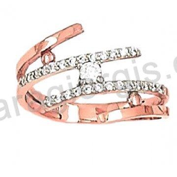Δαχτυλίδι rose gold σε ροζ χρυσό Κ14 με άσπρες πέτρες ζιργκόν.
