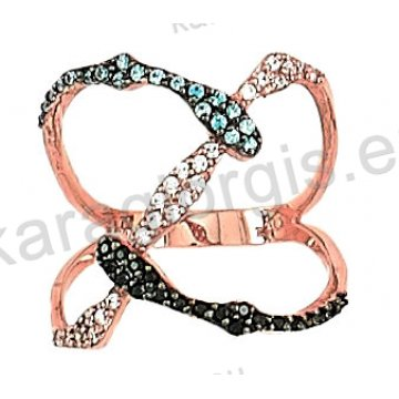 Δαχτυλίδι rose gold σε ροζ χρυσό Κ14 με άσπρες σιέλ και μαύρες πέτρες ζιργκόν με αντικριστά φιδάκια.