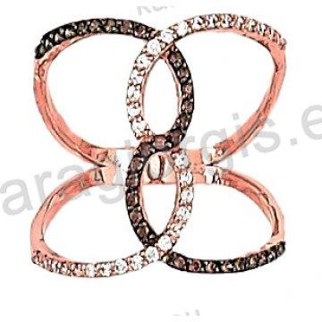 Δαχτυλίδι rose gold σε ροζ χρυσό Κ14 σε ελικοειδές σχήμα με άσπρες και brown πέτρες ζιργκόν.