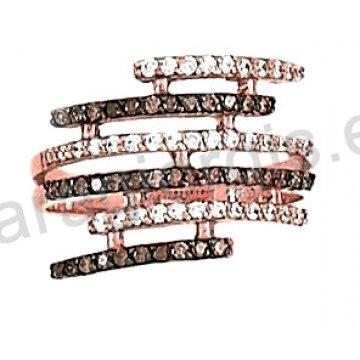 Δαχτυλίδι rose gold σε ροζ χρυσό Κ14 με άσπρες και brown πέτρες ζιργκόν.