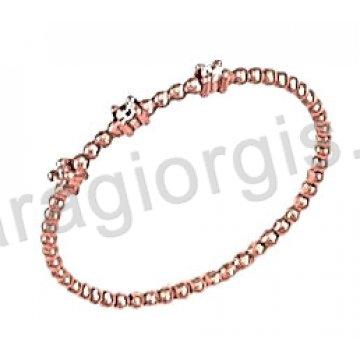 Δαχτυλίδι ολόβερο στριφτό rose gold σε ροζ χρυσό Κ14.