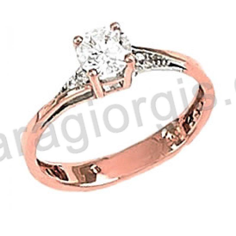 Μονόπετρο δαχτυλίδι rose gold σε ροζ χρυσό Κ14 σε φλόγα με κεντρική πέτρα  και πλαϊνές πέτρες a60f321a3db