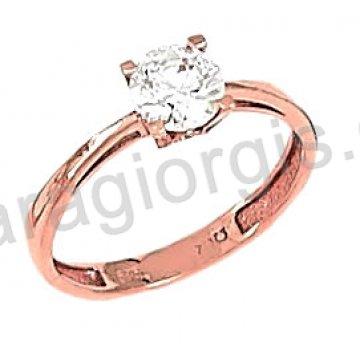 Μονόπετρο δαχτυλίδι rose gold σε ροζ χρυσό Κ14 σε αμερικάνικο τύπο με κεντρική πέτρα ζιργκόν.