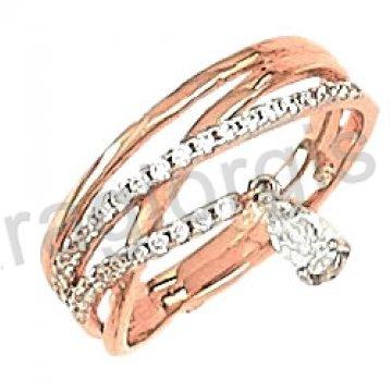 Δαχτυλίδι rose gold σε ροζ χρυσό Κ14 με ελικοειδές  σχήμα και άσπρες πέτρες ζιργκόν.