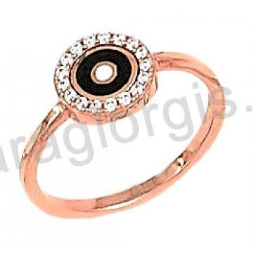 Δαχτυλίδι rose gold σε ροζ χρυσό Κ14 σε τύπου ροζέτα σμάλτο και άσπρες πέτρες ζιργκόν.