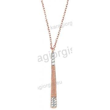 Κολιέ rose gold σε ροζ χρυσό Κ14 με άσπρες πέτρες ζιργκόν σε σχήμα γραβάτας.